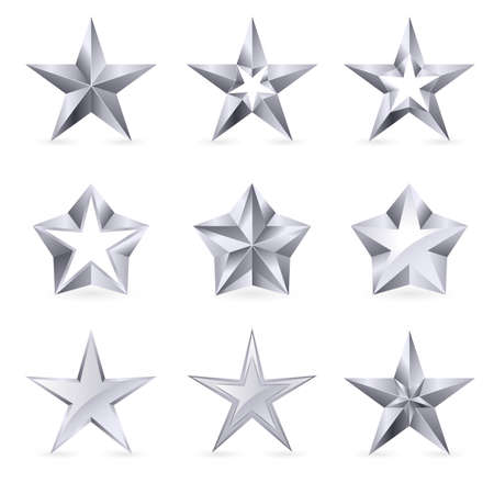 shine silver: Different types and forms of silver stars. Illustration for design on white background Illustration