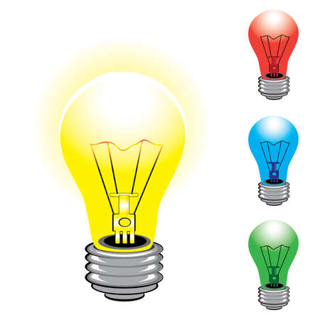 Set of colorful light bulbs. Illustration on white background Vector