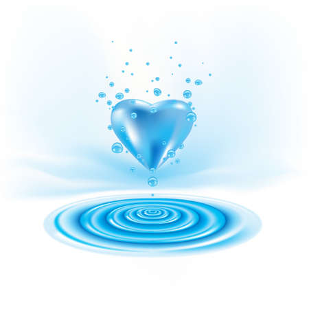Water waves with heart drop. Illustration on white Vector