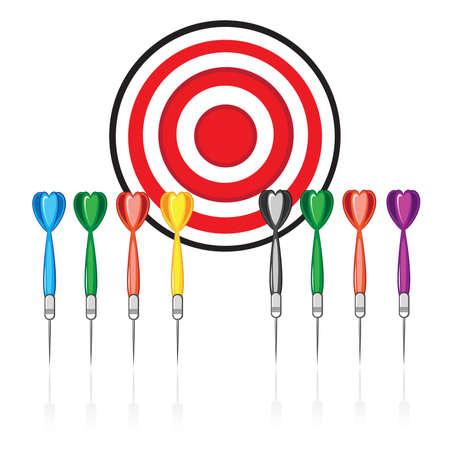 Set of red target and colorful darts. Illustration on white background Vector