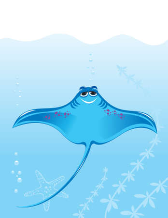 Cartoon marine stingray. Illustration on the background of the sea Vector