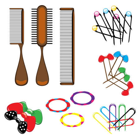 blue hair: Three types of combs and a variety of beautiful hair accessories. Illustration on white background