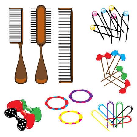 Tres tipos de peines y una variedad de accesorios para el cabello hermoso. Ilustración sobre fondo blanco