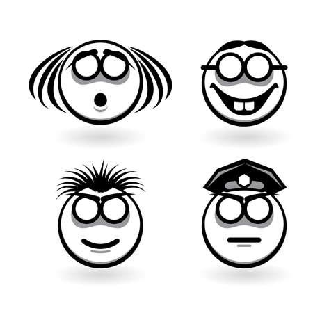 Cuatro dibujos de emociones abstractas.  Ilustración para el diseño de fondo blanco
