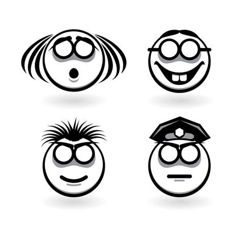 Four cartoon of abstract emotions.  Illustration for design on white background Vector