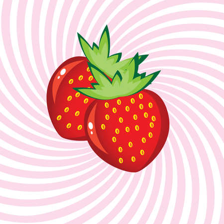 Appetizing Strawberry. Illustration on an abstract pink background Stock Vector - 9460949