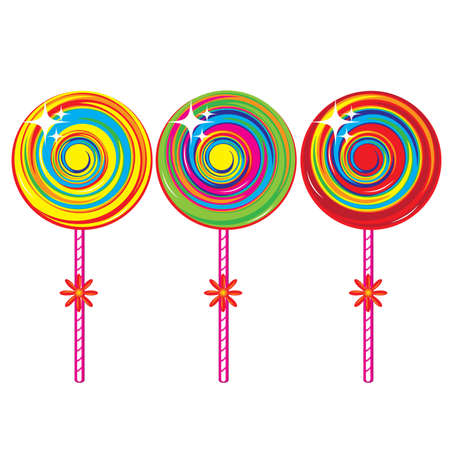 confection: Set of colorful lollipops. Illustration on white background
