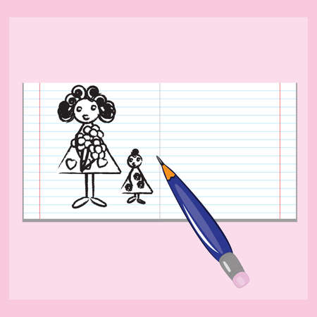 mama: Drawing in a notebook Mothers Day. Illustration for design on pink background Illustration