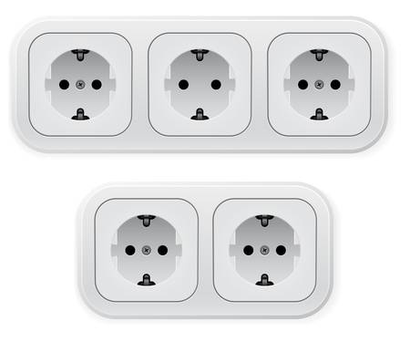 sockets: Realistic illustration of different forms outlets. Vector illustration on white background