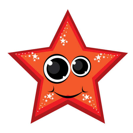 Cartoon gay red star. Illustration on white background Vector