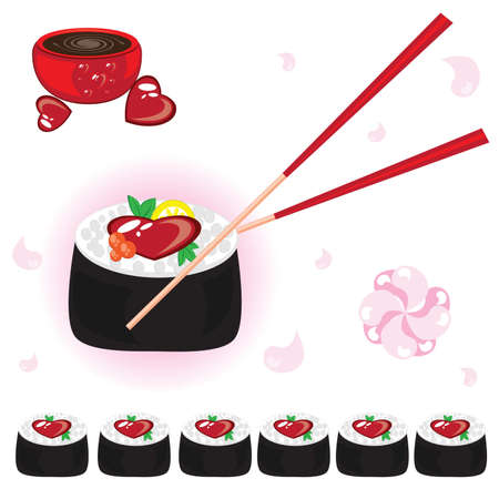 Japanese rolls with sauce and chopsticks. Illustration on white background for design  Vector