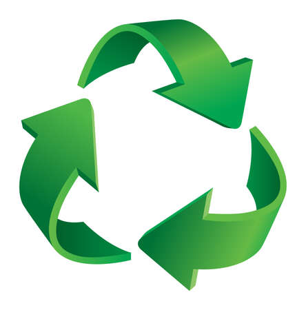 reciclar: Triangular recycling symbol. Illustration on white background. Ilustração