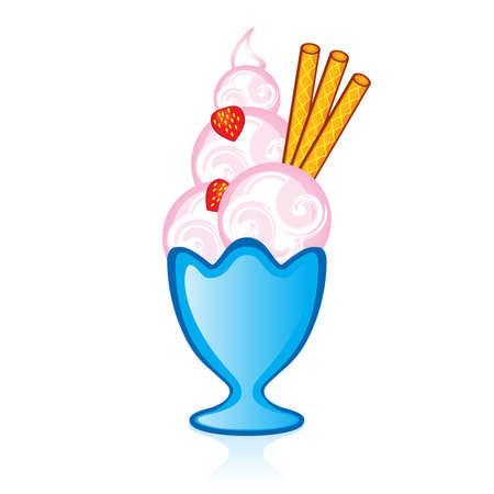 soft ice cream: Strawberry ice cream with falafel tubes for the glass vase. Illustration for design on white background