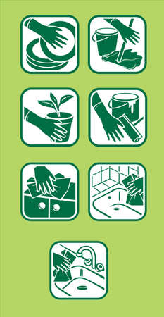 cleaning up: Vector of icon set. Domestic cleaning. Green design.