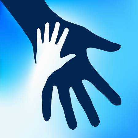 holds: Helping Hands Child.  Illustration on blue background for design