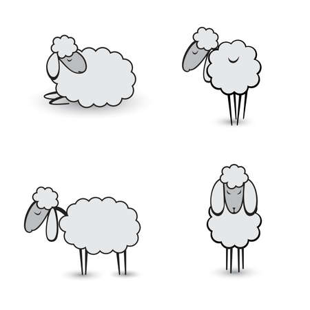 cartoon sheep: Three abstract gray sheep.  Illustration on white background