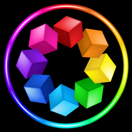 Illustration of cubes and ring of the different color on black Vector