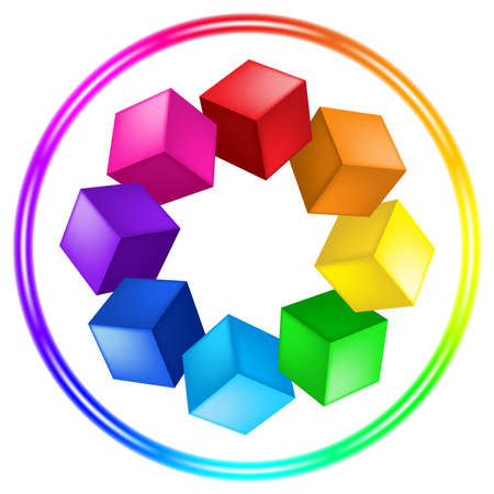 Illustration of cubes and ring of the different color on white Vector