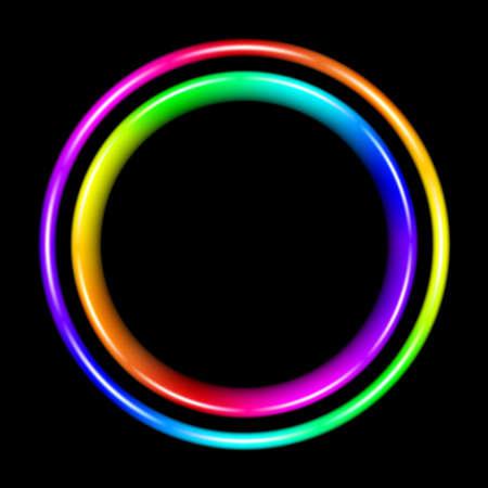 chromatique: Cercle spectrale multicolore. Illustration sur fond noir Illustration