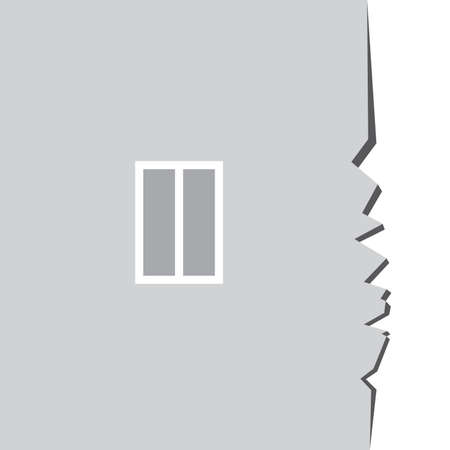 Crack on the side of the house with a window. Illustration for design Vector