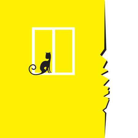 Crack in the wall with a window and a sitting cat.  Illustration on white background Vector