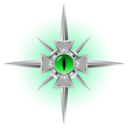red eye: Amulet. Dragon green Eye. Illustration isolated on white background Illustration