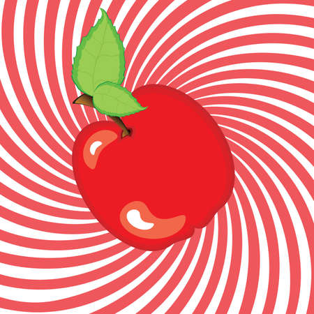 Delicious ripe apple with green leaf. Illustration on an abstract red background Vector