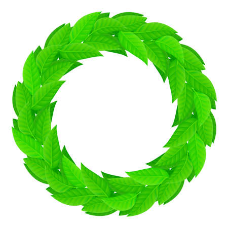 A wreath of green leaves. Illustration on white background Vector
