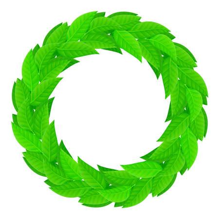 laurel leaf: A wreath of green leaves. Illustration on white background