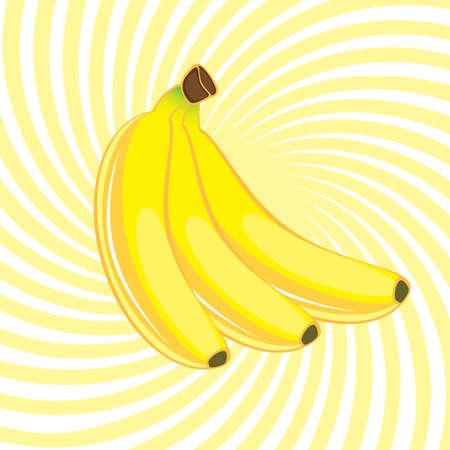 bovenaanzicht plant: Drie banaan. Afbeelding op een abstract gele achtergrond