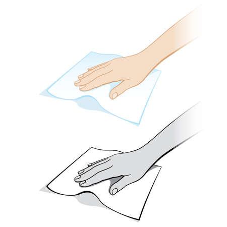 Dos variantes de una mano de mujeres con un trapo. Ilustración sobre fondo blanco