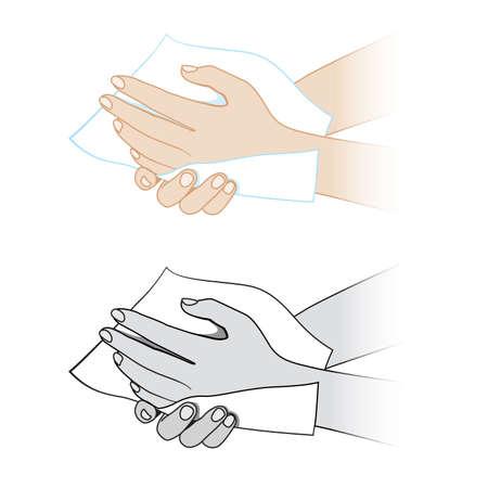 vieze handen: Handen met een servet. Illustratie op witte achtergrond