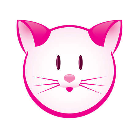 Cartoon gay pink kitty. Illustration for design on white background Stock Vector - 9546505