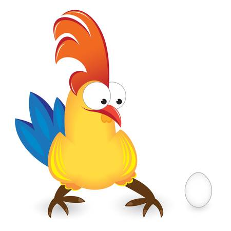 brown egg: cartoon rooster with Egg on white background