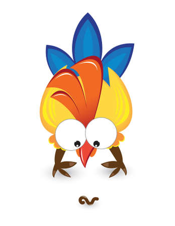 Cartoon rooster with the worm. Illustration on white background