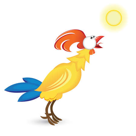 rooster and the sun. Illustration on white background  Vector