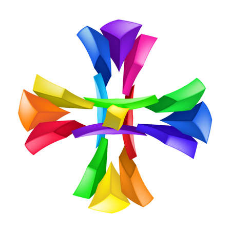 conceptual symbol: Abstract color composition on white background - cross
