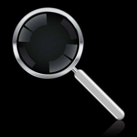optical glass: Illustration of a magnifying glass on a black background