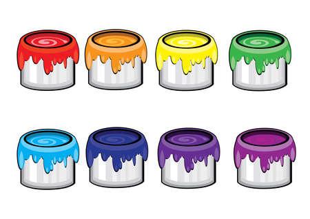 버킷: Colorful paint Cans. Illustration on white background