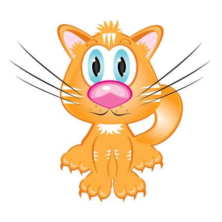Cartoon red kitten. Illustration on white background