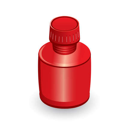 cough syrup: Medical bottle of red. Illustration on white background