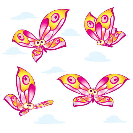 Set of cartoon colorful butterflies. Illustration on white background Vector