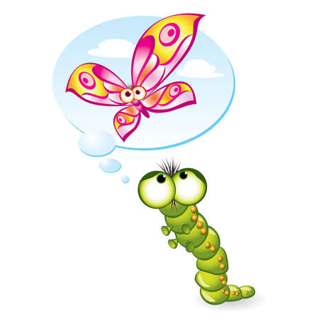 Caterpillar wants to become a butterfly. Illustration on white background