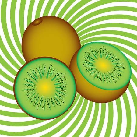 Ripe kiwi. Illustration on an abstract green background Vector