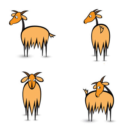 goats: Abstract four goats in different positions. Illustration on white background
