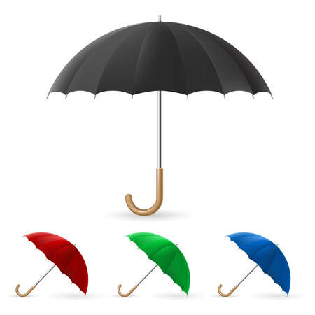 sun umbrellas: Realistic umbrella in four colors. Illustration on an abstract green background  Illustration