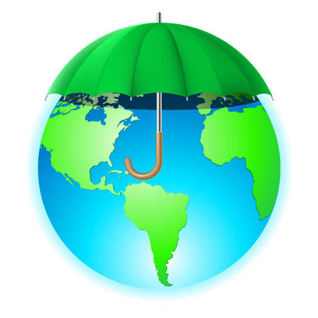 environmental policy: Protecting the planet. Illustration of the planet under an umbrella on a white background