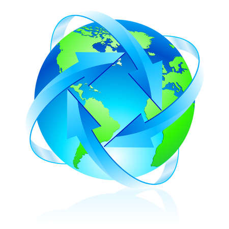 energy balance: Protecting the planet. Illustration of the planet with lots of blue arrows Illustration
