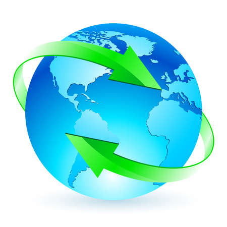 Protecting the planet. Illustration of the planet with two green arrows on white background Vector