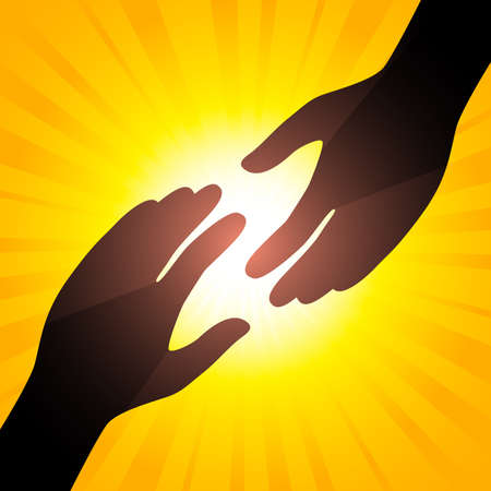 clasps: Solar handshake. Symbol of care. Illustration for your design.